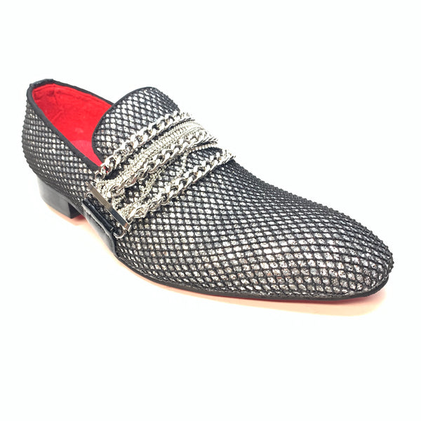 Fiesso Black Crystal Chained Dress Loafer - Dudes Boutique