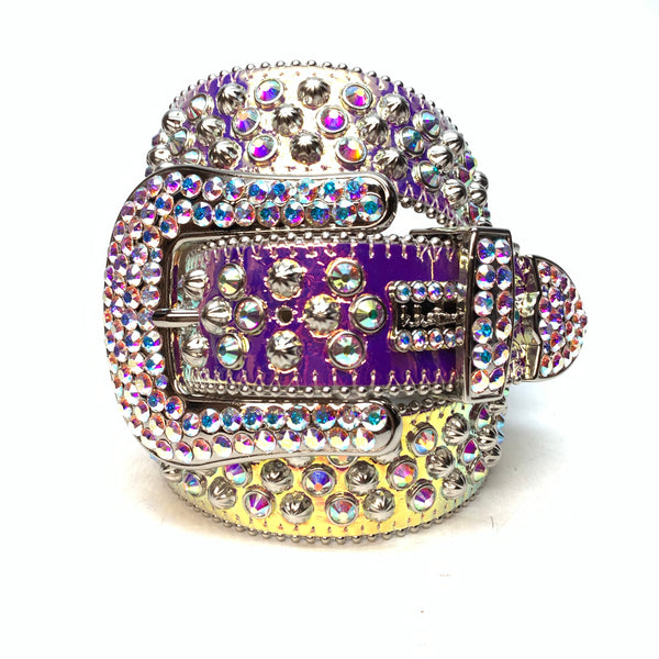 b.b. Simon 'Nebula Two Tone' Big B Studded Swarovski Crystal Belt
