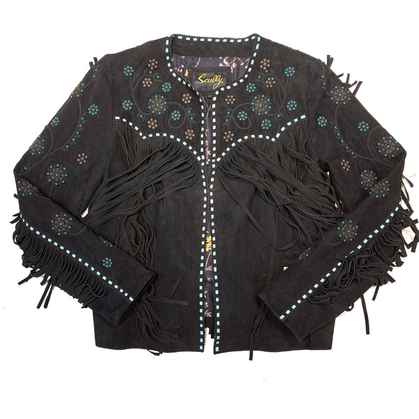 Scully Ladies Black Suede Fringe Beaded Jacket