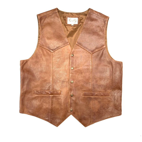 Scully Men's Brown Vintage Lambskin Vest