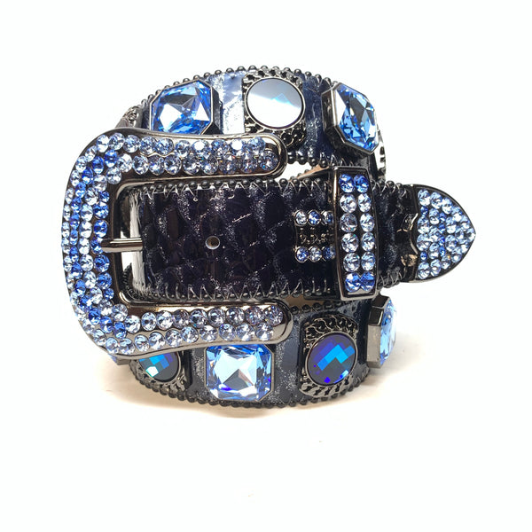 b.b. Simon 'Midnight Navy' Big Block Patent Python Swarovski Crystal Belt