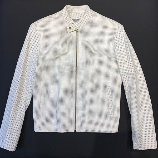 Kashani White Perforated Lambskin Chinese Collar Biker Jacket