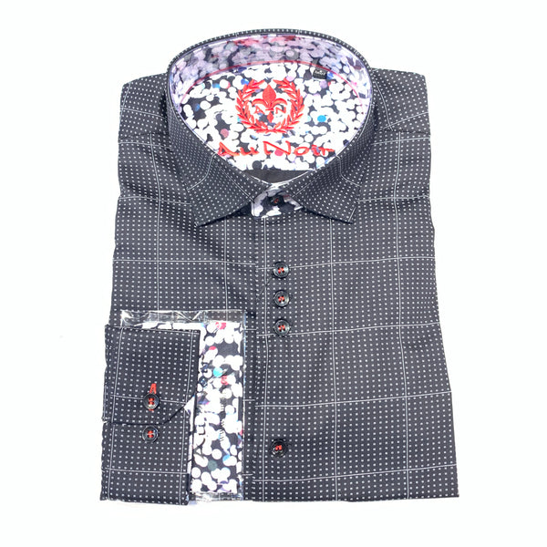 Au Noir Men's 'Davios' Black Square Button Up Shirt