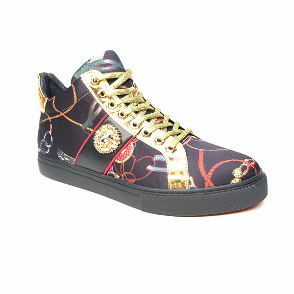 Fiesso Lion Key Black Gold Sneakers - Dudes Boutique