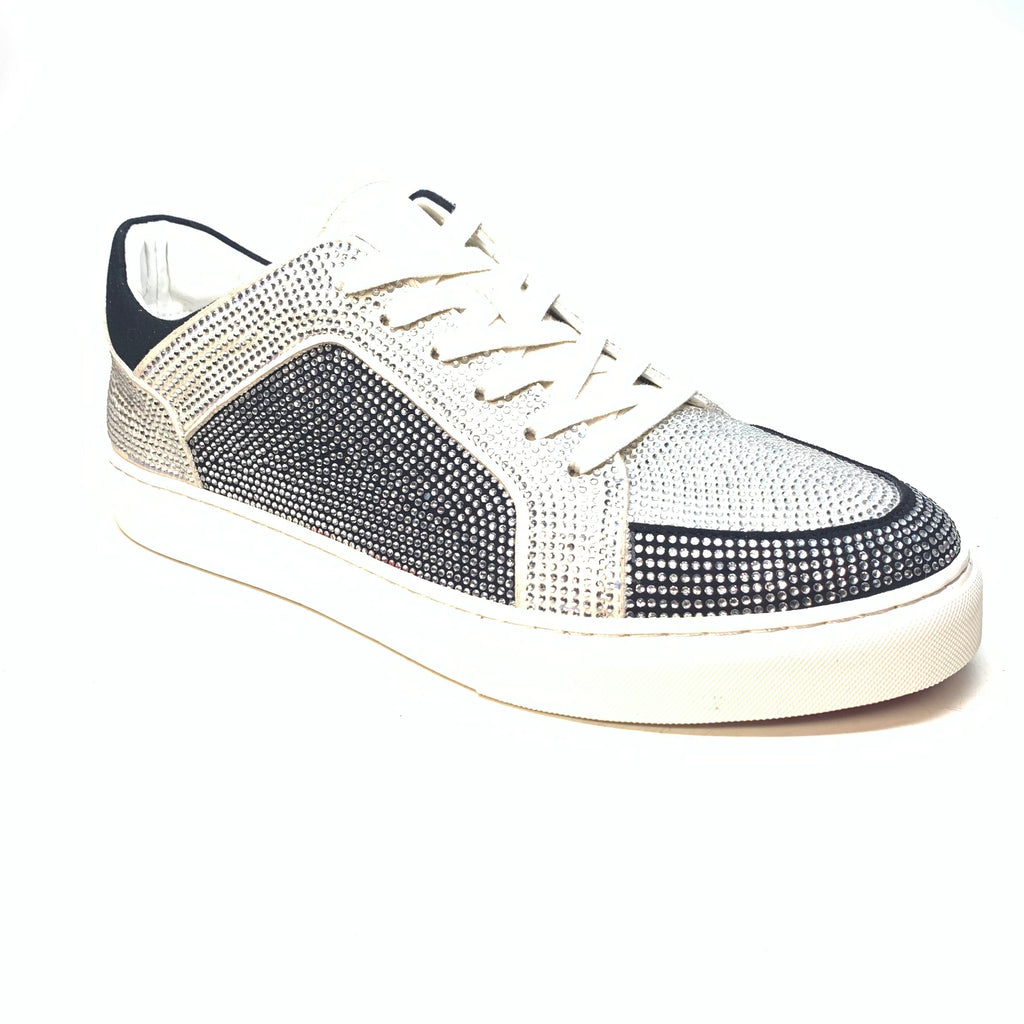 Fiesso White Fully Loaded Crystal Low-top Sneakers - Dudes Boutique