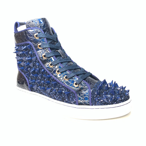 Fiesso Navy Crystal Spike Croco High-top Sneakers - Dudes Boutique