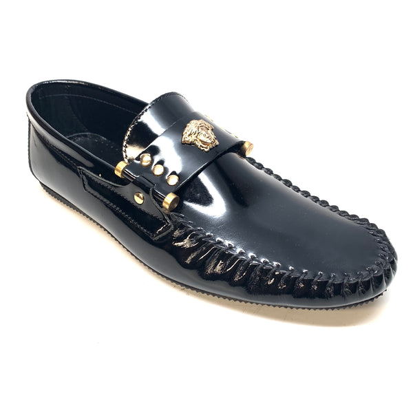 Sigotto Black Patent Leather Medusa Driver Loafers - Dudes Boutique