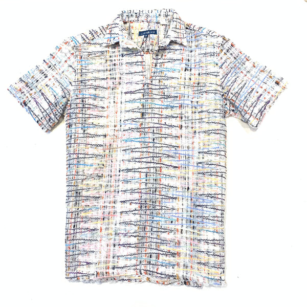 Lanzzino Stitched Multicolor Short Sleeve Shirt - Dudes Boutique