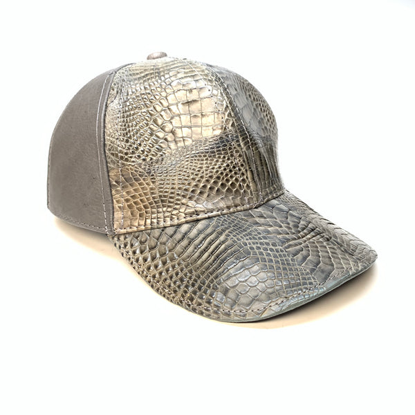 Kashani Charcoal Grey Alligator & Ostrich Quill StrapBack Hat