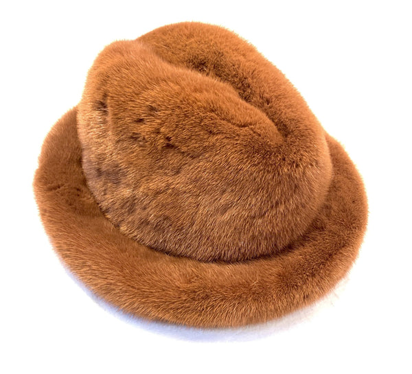 Kashani Men's Cognac Full Mink Top Hat - Dudes Boutique