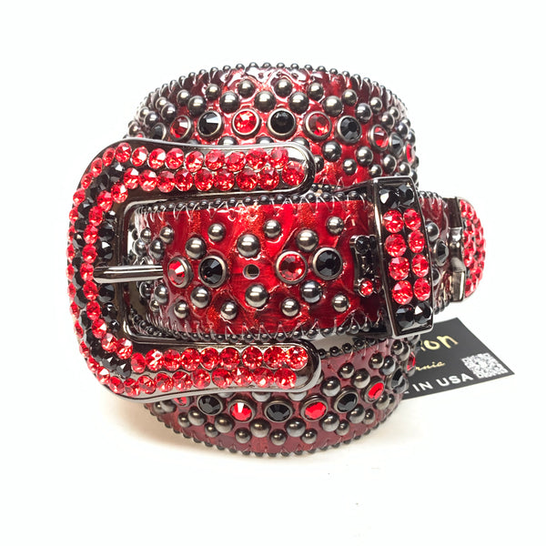 b.b. Simon 'Devil Red' Patent Python Swarovski Crystal Belt