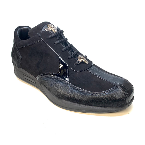Mauri M791 Black Pony Suede Alligator Sneakers - Dudes Boutique