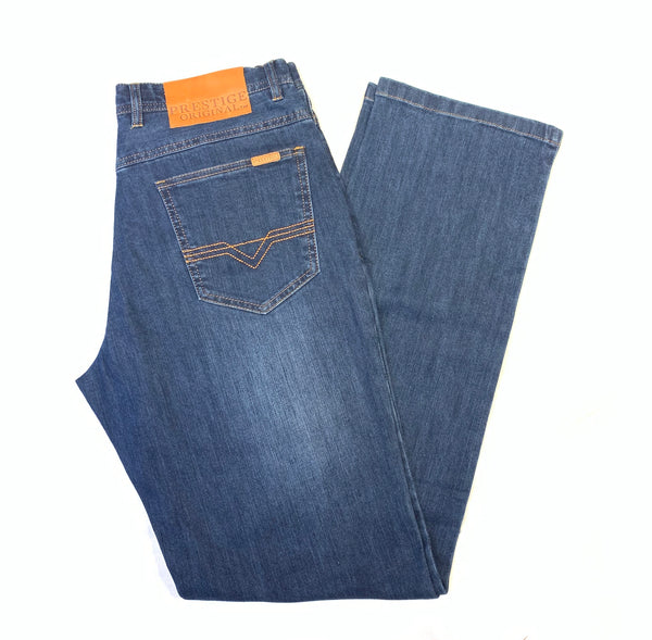 Prestige Indigo Medium 5PKT High-end Denim Pants - Dudes Boutique
