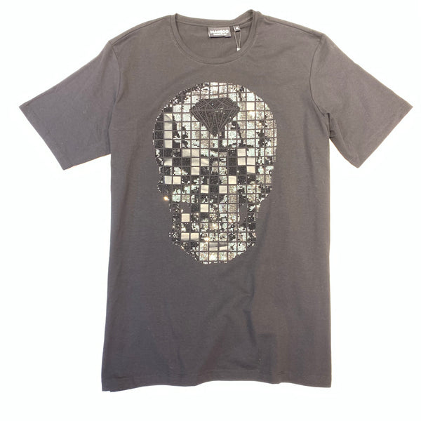 MACEOO Men's Tee Skull Square Black Crystal Short Sleeve Shirt