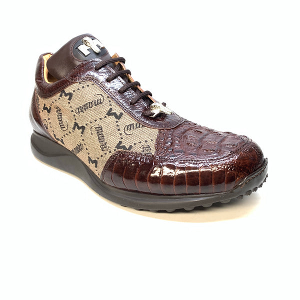 Mauri  '8741/2' Brown Alligator/Ostrich Leg Sneakers - Dudes Boutique