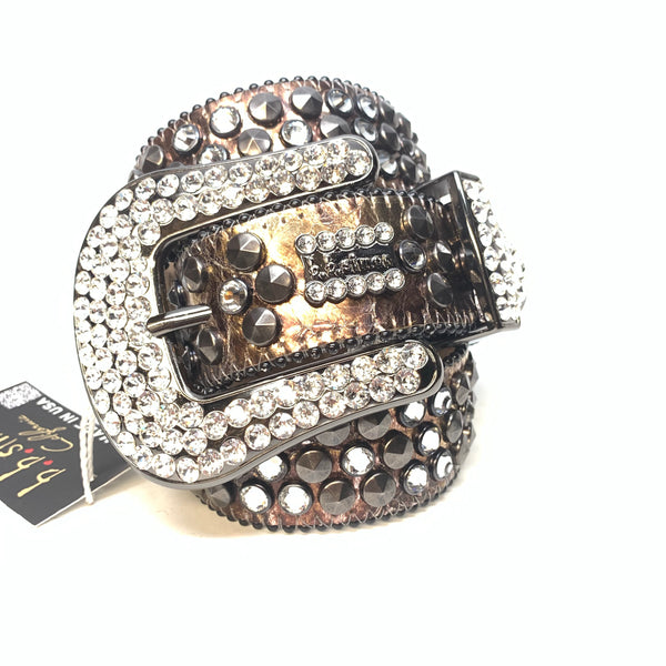 b.b. Simon Platinum Bronze Studded Swarovski Crystal Belt