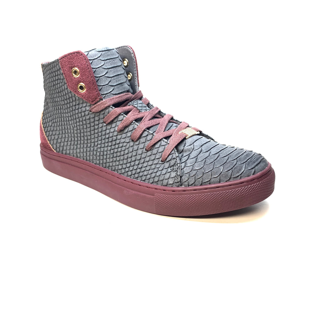 Tayno Charcoal Snake Skin Hightop Sneakers