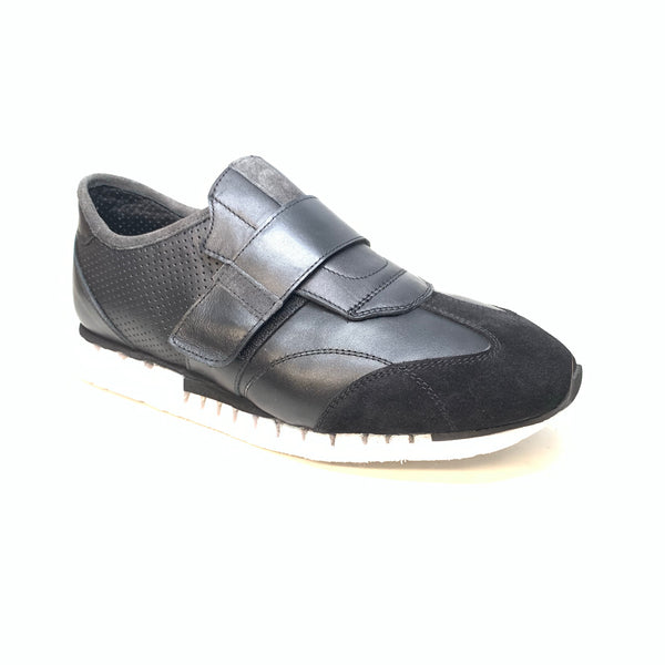 Sigotto Men's Black Leather/Suede Velcro Strap Sneakers - Dudes Boutique