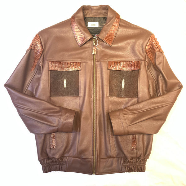 Kashani Chocolate Brown Alligator Horn-Back/Stingray Bomber Jacket