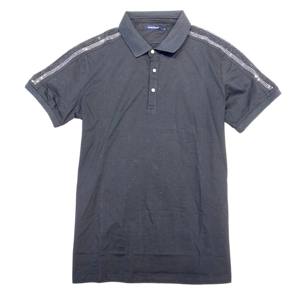 Barabas Black Crystal Studded Polo Shirt - Dudes Boutique