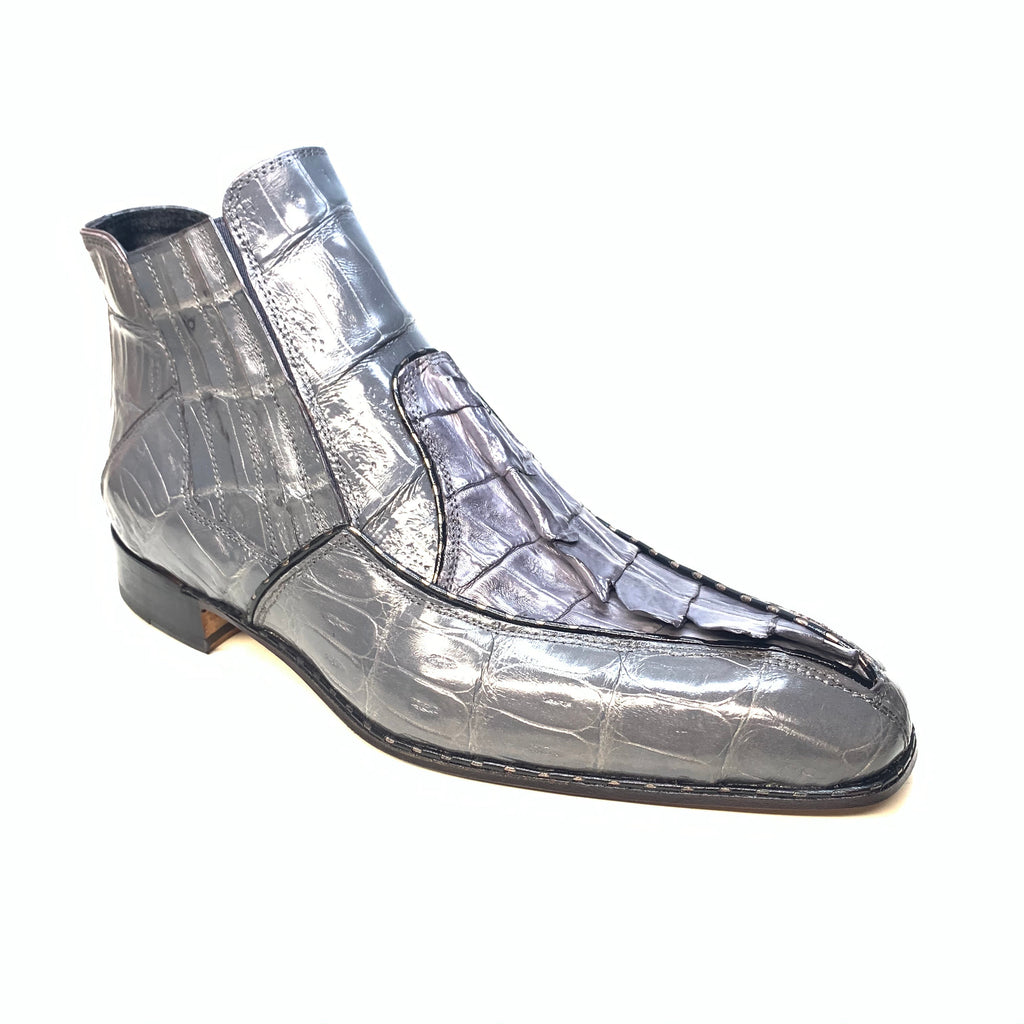 Mauri 4880 Grey Genuine Baby Crocodile / Hornback Tail Hand Painted Boots - Dudes Boutique