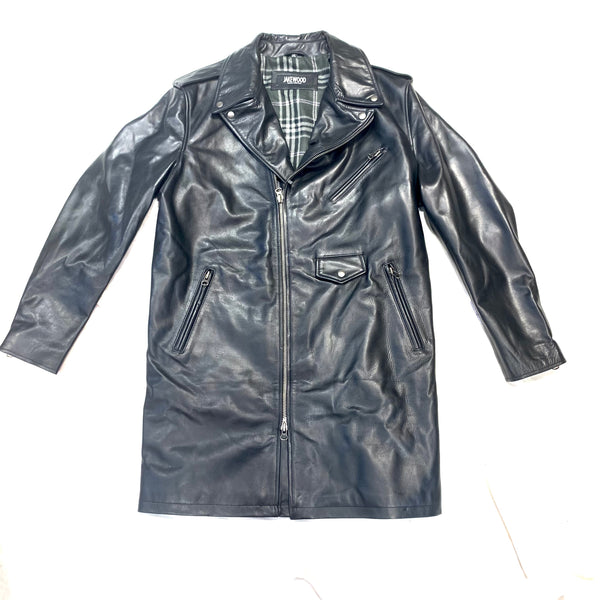 Jakewood Deep Black Lambskin Trench Coat - Dudes Boutique