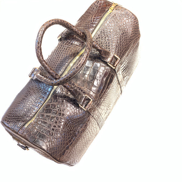 Kashani Brown Full Alligator Body Duffle Bag - Dudes Boutique