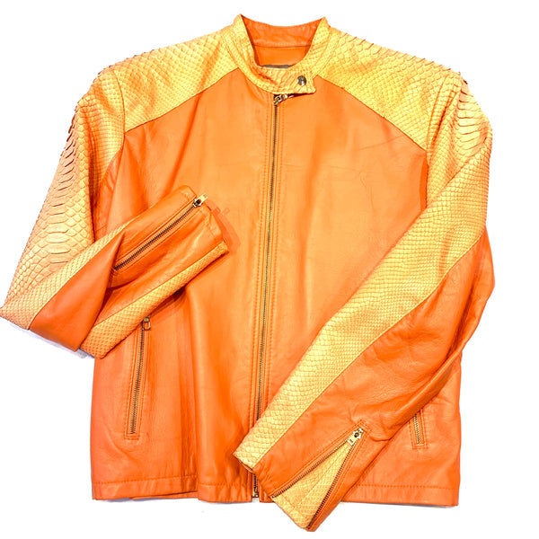 Kashani Orange Full Python Sleeve Bomber Jacket