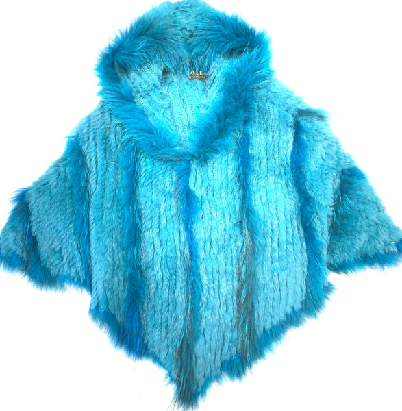 Jayley Turquoise Fox & Coney Fur Hooded Poncho - Dudes Boutique