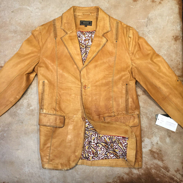 Missani Le Collezioni Men`s Vintage Camel Leather Sports Coat