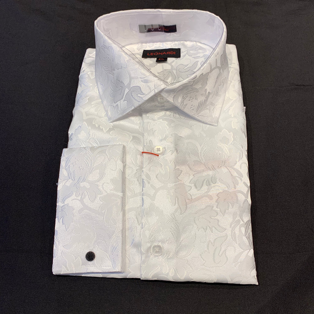 Leonardi 'White Leaf Paisley' French Cuff Button Up Shirt - Dudes Boutique