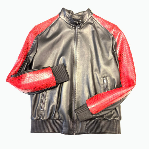 Kashani Black Red Python MA-1 Bomber Jacket