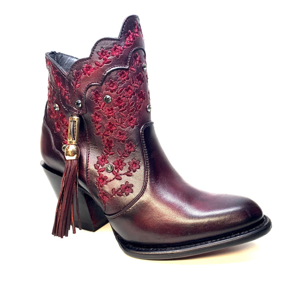 Los Altos Ladies Ruby Floral Crystal Bovine Leather Bootie - Dudes Boutique