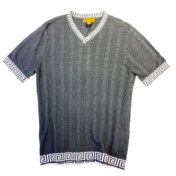 Prestige Gunmetal Cable Knit V-Neck Shirt - Dudes Boutique