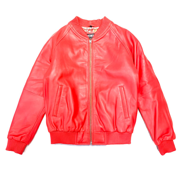 Kashani Red Naked Lamb Skin Bomber Jacket - Dudes Boutique