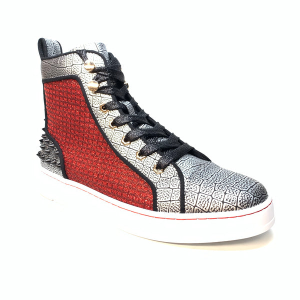 Fiesso Blood Silver Croc Spiked High-top Sneakers