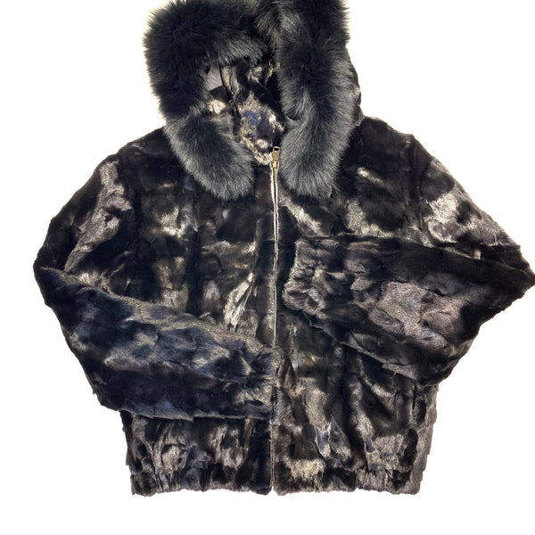 Kashani Ladies Black Diamond Cut Mink Hooded Bomber Jacket
