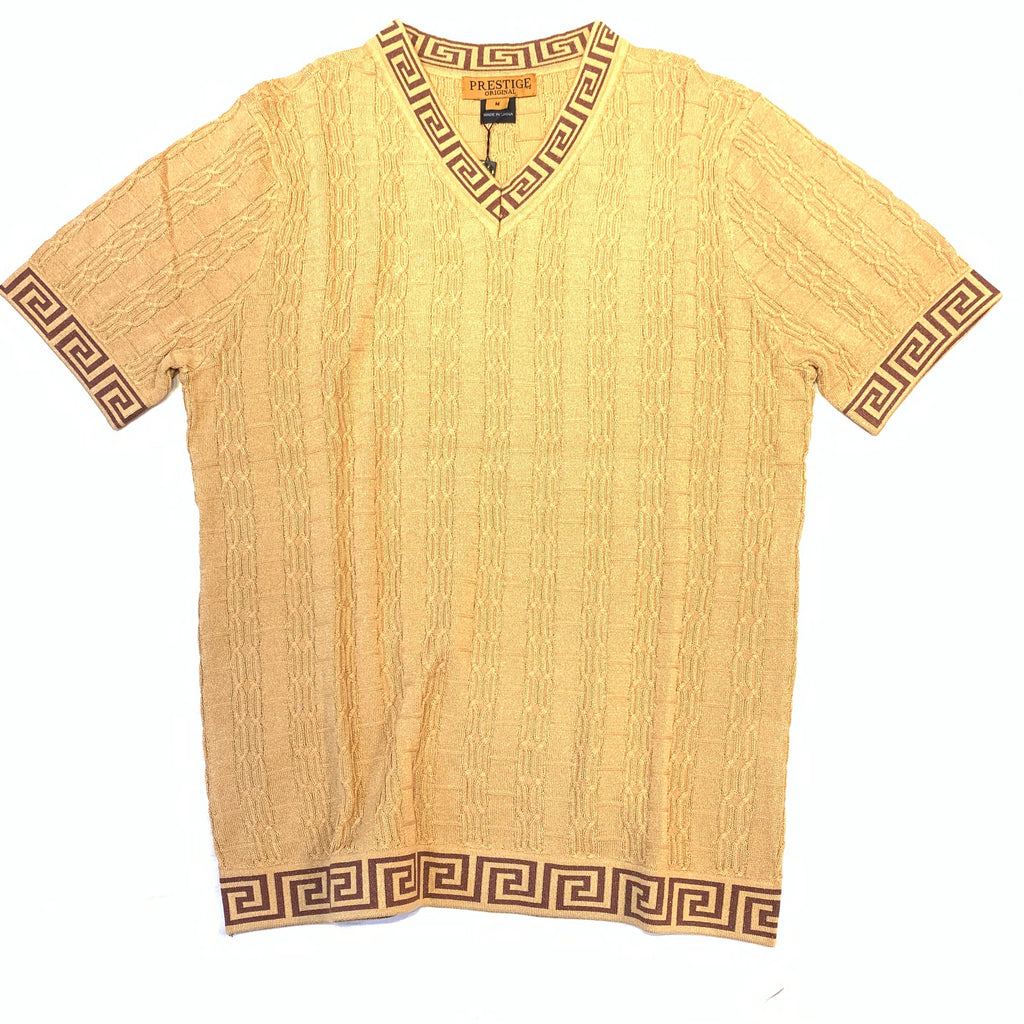 Prestige Latte Cable Knit V-Neck Shirt - Dudes Boutique