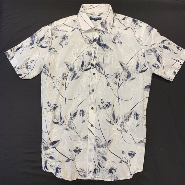 Lanzzino Floral Stitched Short Sleeve Shirt - Dudes Boutique