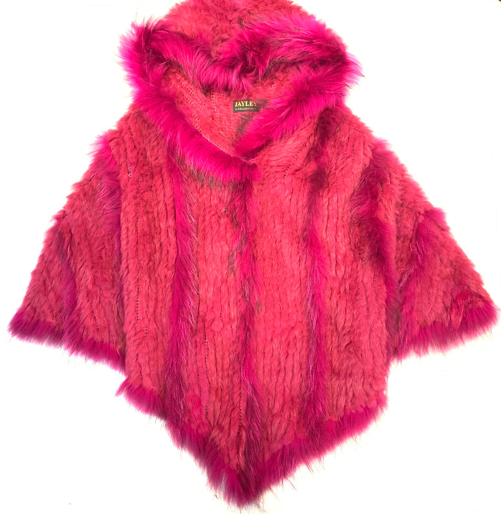 Jayley Pink Fox & Coney Fur Hooded Poncho - Dudes Boutique
