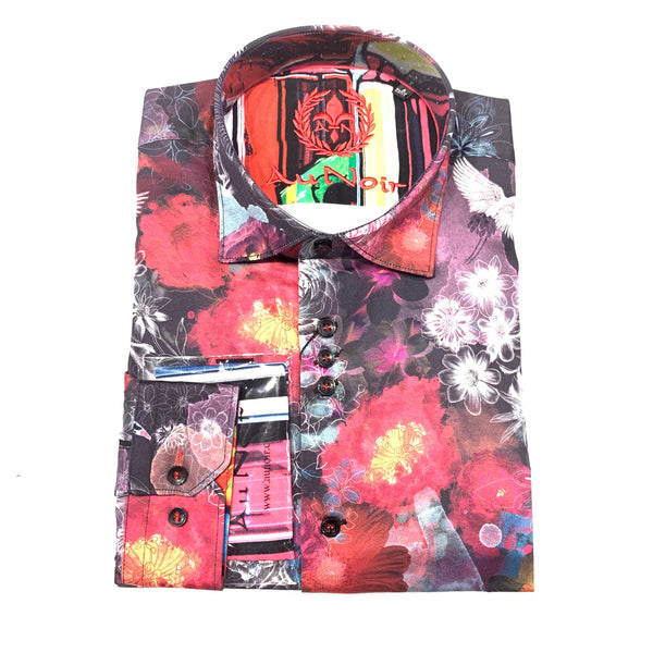 Au Noir Men's Rose 'VINCENT' Black Button Up Shirt