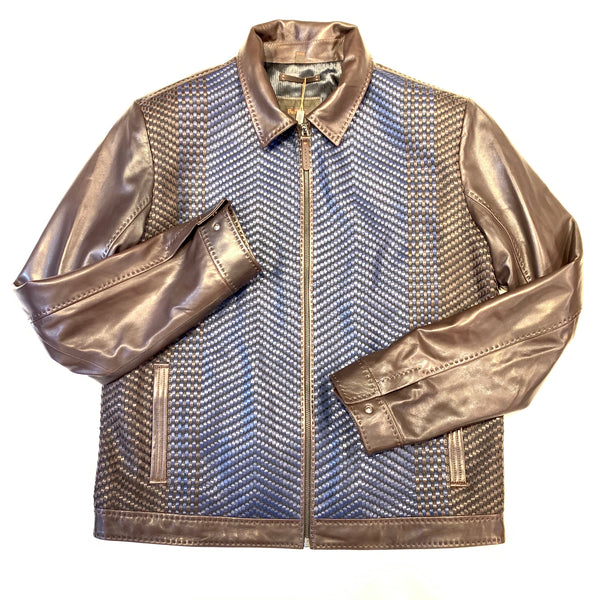 PelleSi Chocolate Blue Weaved Lambskin Bomber Jacket