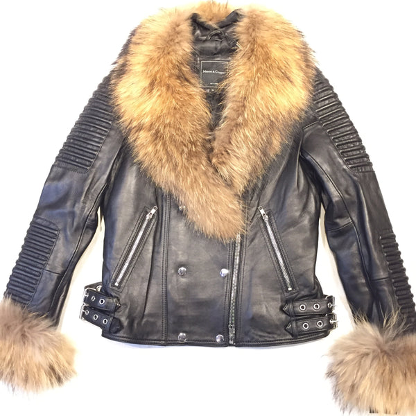 Mason & Cooper Ladies Black Lambskin/Fox Fur Biker Jacket - Dudes Boutique