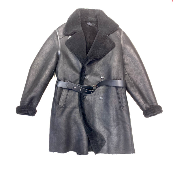 Barya NewYork Black Shearling Trench Coat - Dudes Boutique