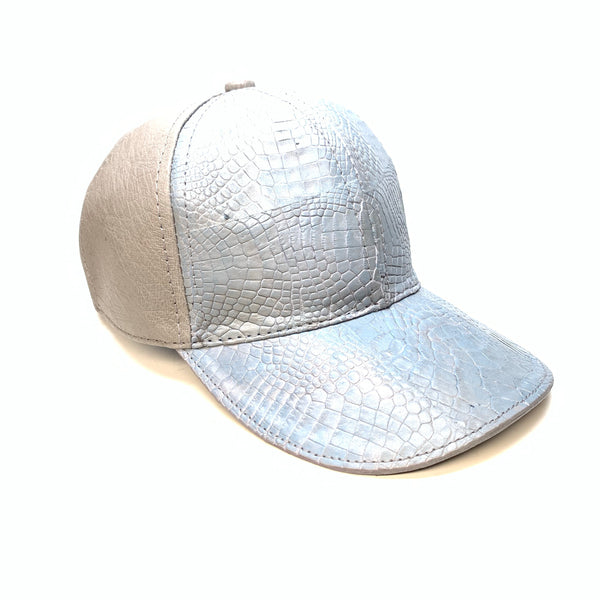 Kashani Cloud Blue Grey Alligator & Ostrich Quill StrapBack Hat