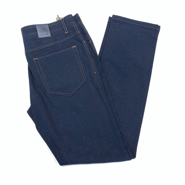 Enzo Alpha-193 Dark Blue High End Denim Trousers - Dudes Boutique