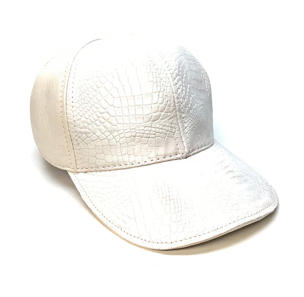 Kashani Off White Alligator & Ostrich Quill StrapBack Hat