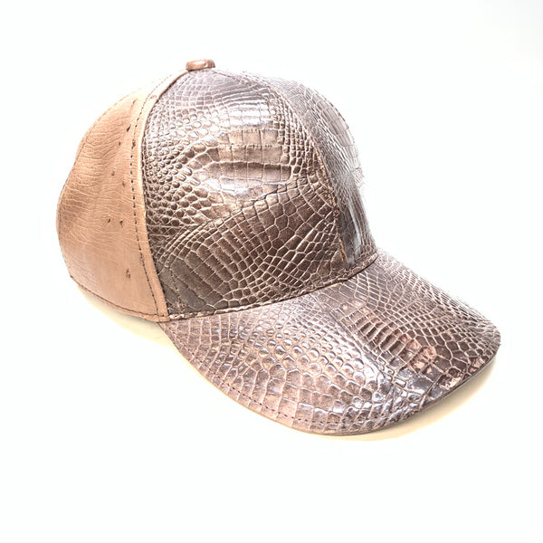Kashani Chocolate Brown Alligator & Ostrich Quill StrapBack Hat