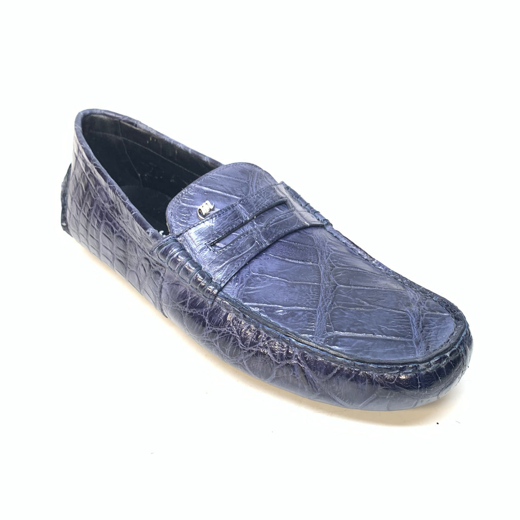 Mauri 3128 Wonder Blue Ercole Alligator Driving Loafers