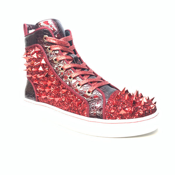 Fiesso Red Crystal Spike Croco High-top Sneakers - Dudes Boutique